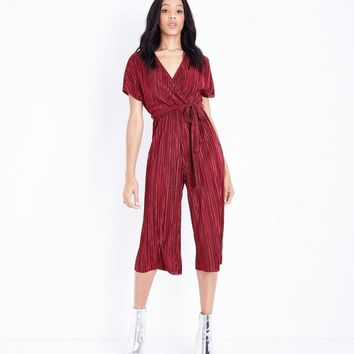 Dark Red Plisse Wrap Front Culotte Jumpsuit | New Look