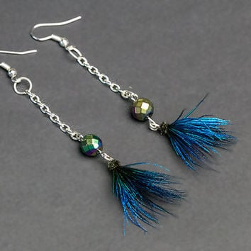 Peacock feather earrings with rainbow hematite, glamour jewelry, iridescent feather, ethnic, boho, glamour earring, folk, hippie, peacock.