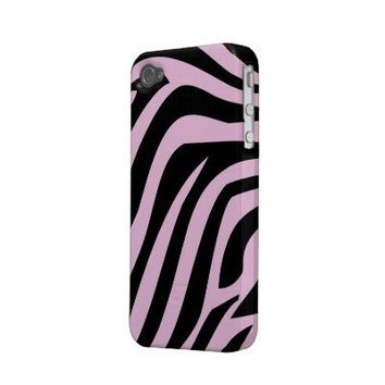 Pink and Black Zebra Print iPhone 4s Case Iphone 4 Cases from Zazzle.com