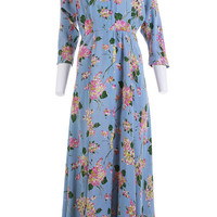 40's Vintage Blue and Pink Floral Maxi Dress Women's Size Small / Nipped Waist Extra Wide Sweeping Skirt House Retro Lounge Wear - 28' Waist