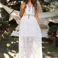 Clementine Lace Maxi Dress (Off White)