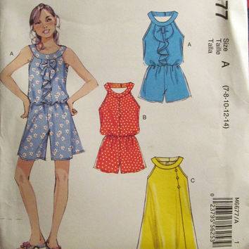 SALE Uncut McCall's Sewing Pattern, 6677! 7-8-10-12-14 Girls Size Pullover Rompers. Jumpsuit/Jumper shorts, Loose-fitting Summer/Spring Appa