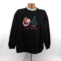 Ugly Christmas Sweater Vintage Sweatshirt Party Xmas Santa Tacky Holiday Size XL