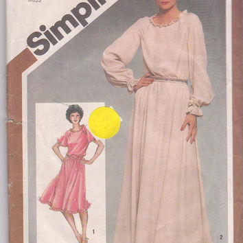 Vintage 1980s pattern for long or short sleeved special occasion dress knee or floor length misses size 16 Simplicity 9824 UNCUT