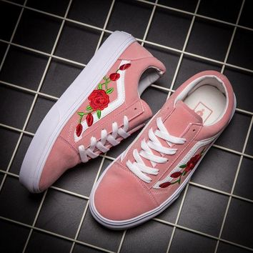 LMFON Vans Classics Old Skool Rose Floral Embroidered Sneaker Women Casual Shoes