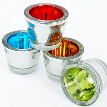 One Hundred 80 Degrees Red Blue Green Gold Mirror Votive Candle Holders