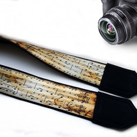 Vintage Style Music Camera Strap. Gift For Musician. Notes Camera Strap. Camera Accessories