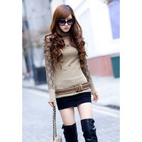 Khaki Turtle Neck Long Sleeve Knit Sweater with Lace (Without Belt)