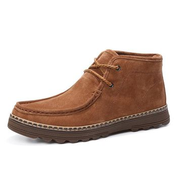 Men's Genuine Leather Stylish Classic Moc Toe Lace Up Casual Ankle Boots