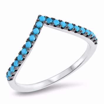 Sterling Silver Simulated Turquoise Tiara Ring