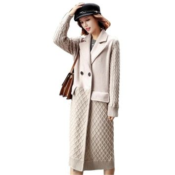 2018Autumn Winter New Fashion Europe Classical Female Overcoat Double breasted Long Woolen Coat Women Cashmere Coat Wool Outwear