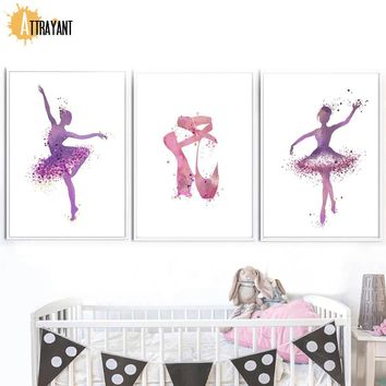 Terpsichorean Pink Ballet Dancer Wall Art Canvas Painting Nordic Posters And Prints Wall Pictures Baby Girl Room Home Decor