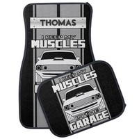 I Keep My Muscles In The Garage Muscle Car Grey Car Mat
