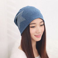 2016 Autumn Fashion New Knit Baggy Beanie Hat with Star Female Warm Winter Hats for Girls Women Beanies Bonnet Head Cap 5H016