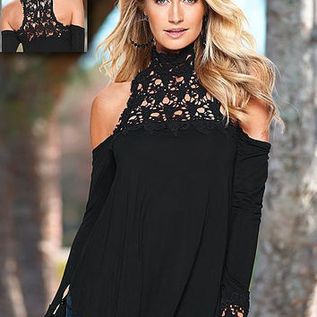 Women Winter Fashion Long Sleeve Lace Tops Off the Shoulder Blouse [9632877455]