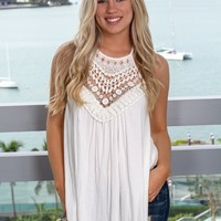 Off White Sleeveless Top with Crochet Detail
