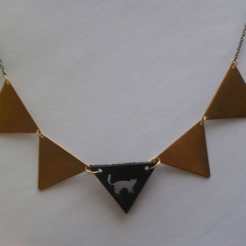Triangle statement necklace cat collaboration by littlepancakes