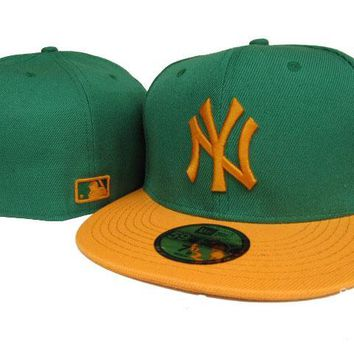 LMFON New York Yankees New Era MLB Authentic Collection 59FIFTY Cap Green-Yellow