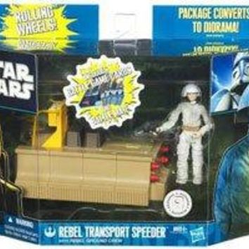 Star Wars Clone Wars 2011 Exclusive Vehicle Action Figure Pack Rebel Transport Speeder with Rebel Ground Crew