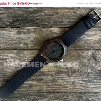 SALE Wood Watch. Mens Black Wood Watch. Engrave Watch. Personalized Watch. Brooklyn. Kavemen. Wood Watch Men. Mens Wood Watch. Watch. Watche