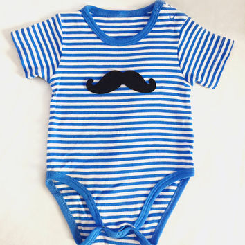 Little Man Mustache Blue Stripes Baby Boy Onesuit Romper. Cute Quirky Baby Gift. 100% Cotton Short Sleeves Onesuit
