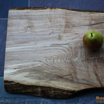 Curly Tiger Maple Cutting Board with Live edge & Ambrosia Detail - Thick Handcrafted Wood 98