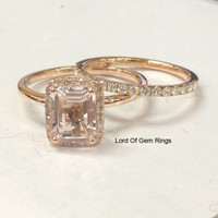 6x8mm Emerald Cut Morganite Diamond/Moissanite Engagement Ring & Matching Band Ring Sets in 14K Rose Gold