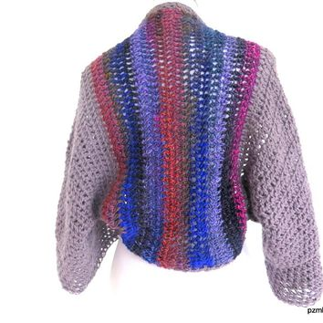 Chunky Angora Plus Size Crochet Shrug, Large Noro and Angora Sweater Shrug