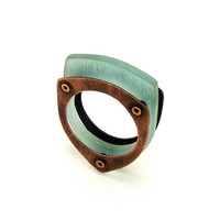 Oxidized Copper and Aqua Resin Riveted Ring - Sentiment