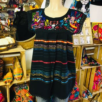 Mexican Oaxaca Blouse Floral Embroidery Black