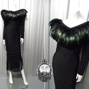 Vintage 80s KAHNIVEROUS Jane Kahn Avant Garde Feather Maxi Dress Gothic Evening Gown Ruched Bodycon Tassel Fringe Deep Back Stretchy Wiggle