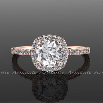 White Sapphire Engagement Ring, Diamond Alternative, Halo Engagement Ring, 14k Rose Gold, Promise Ring Re00071