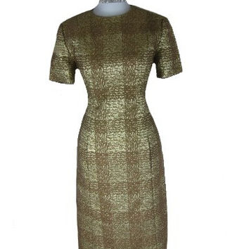 Vintage 50s 60s BRANELL Gold Lame Cocktail Party Dress Set W36