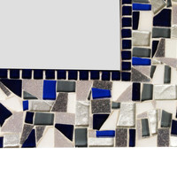 Mosaic Wall Mirror in Navy, Silver, Gray
