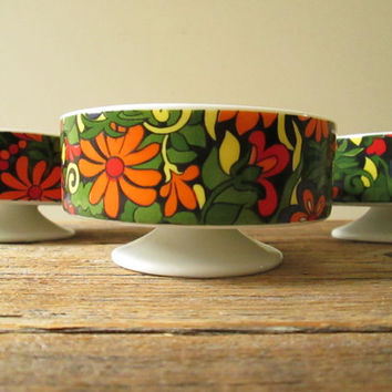 Pedestal Bowls Cups Dishes HH Holt Howard 1968 Set of 3 Footed Bowls / Flowers Mod Hippie Floral / Dessert Dish Berry Ice Cream Cups #7133