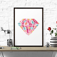 Printable Poster, Floral Diamond, Geometric Print, Abstract Design, Printable Wall Art, Floral Wall Art, Home Decor