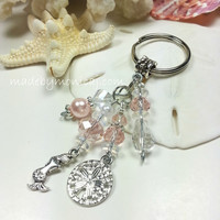 Cute Girly Key Chain with Beach Theme Charms.  Beach Lover Gift Idea. Pink Girly Car Accessory.