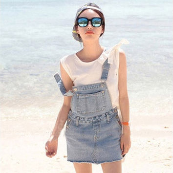 Fashion sweet solid color denim braces skirt Korean style