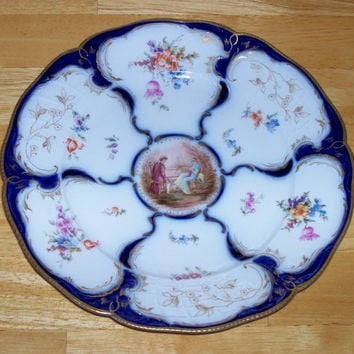 Antique Rosenthal Sanssouci plate Germany Cobalt Blue floral courting couple 8.5 inches flowers collectible vintage German porcelain china