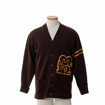 Vintage 60s College Letterman Sweater 1960s Collegiate High School Brown Wool Knit Cardigan Rockabilly Jacket