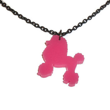 Pink Poodle Necklace, Kitsch Dog, Cute Kawaii Quirky Laser Cut Perspex Bubblegum Pink