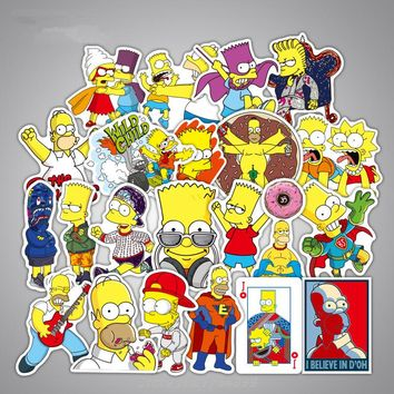 50PCS Graffiti Sticker The Simpsons family Funny Stickers Gift for Kids Decal DIY Laptop Car Fashion Cool Waterproof Sticker