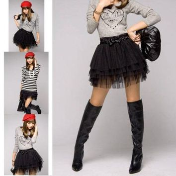 CREYUG3 New Fashion Cute Girl's Full Tutu Tulle Tier 5 Layers Skirts (color: black) = 1946105348