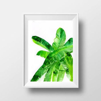 banana leaf watercolor painting plant leaf print green decor print banana botanical beach wall art decor 4x6 5x7 8x10 8x12 tropical print