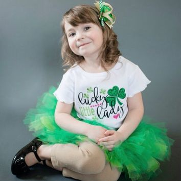 "Baby Girl Short Sleeve Shirt | ""Lucky Little Lady""