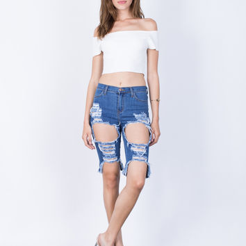 Torn and Destroyed Bermuda Shorts
