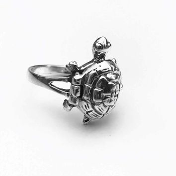 Turtle Poison Ring, Turtle Locket Ring, Pillbox Ring, Sterling Silver Ring, Victorian Scroll Poison Ring, Gifts for Her
