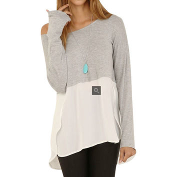 Chic Women Casual Loose Stitching Blouse Grey Shirt Crew Neck Tee Comfy Tops NW