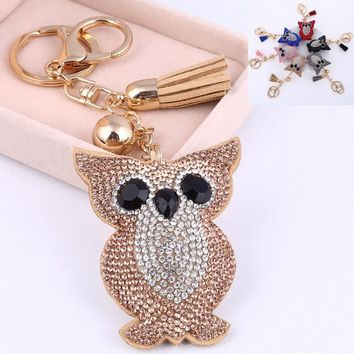 Gold Plated Champagne Owl Key Chains Leather Tassel 6 Colors Rhinestone Key Ring Hook Chain For Women Men