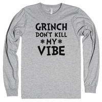 Grinch Don't Kill My Vibe-Unisex Heather Grey T-Shirt